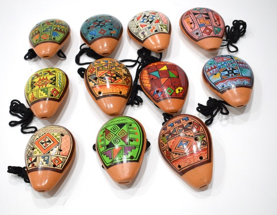 """Whistles Assorted Peruvian Ocarina Clay Flute/Whistles 5.5"""""""