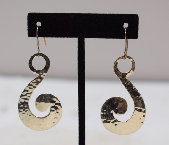 Earrings Sterling Silver Textured Swirl Dangle Earrings 64mm