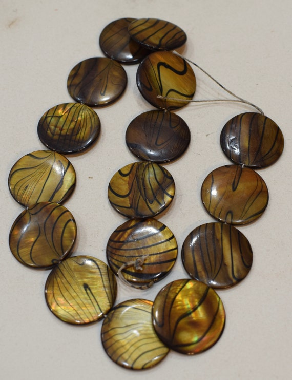Beads Capiz Gold Zebra Shell Round Beads Necklaces Shell Beads 25mm