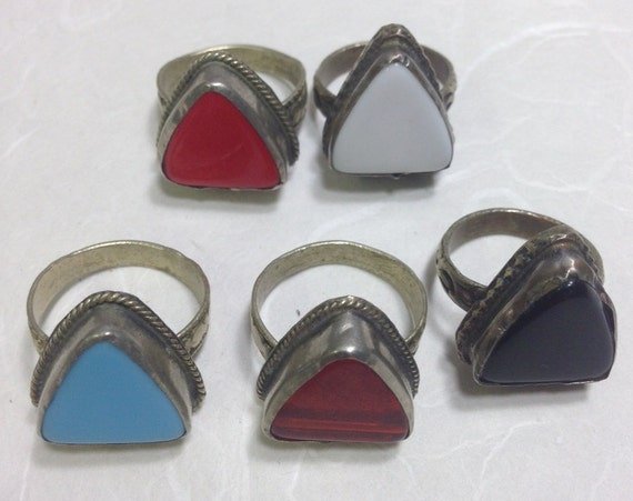 Ring Middle Eastern Red Black Blue White Orange Silver Glass Triangle Handmade Handcrafted Fun Unique Tribal Rings Tribal