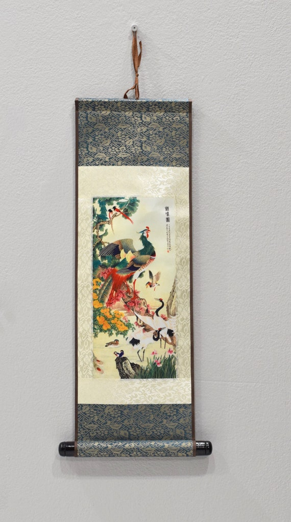 Scroll Chinese Brocade Painted Silk Chicken Wall Hanging 18""