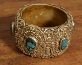 Tibetan Bracelet Silver Turquoise Stone Hand Crafted Silver Round Bangle Bracelet