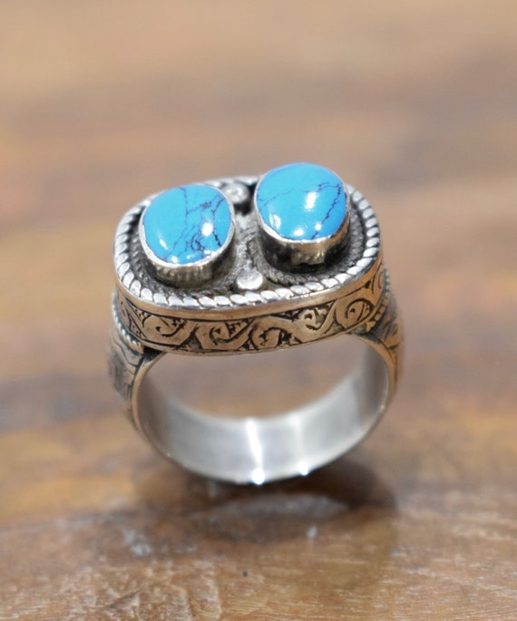 Ring Sterling Silver Tibetan Turquoise Silver Ring