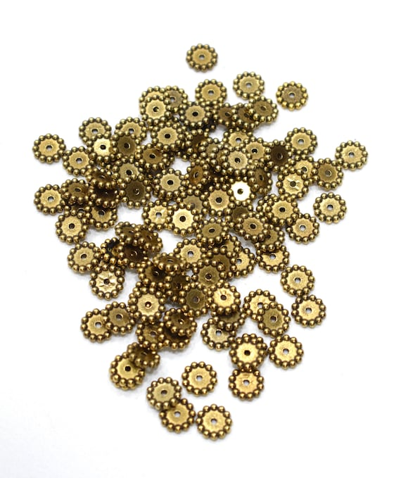 Beads Gold Round Beaded Disc Beads 10mm