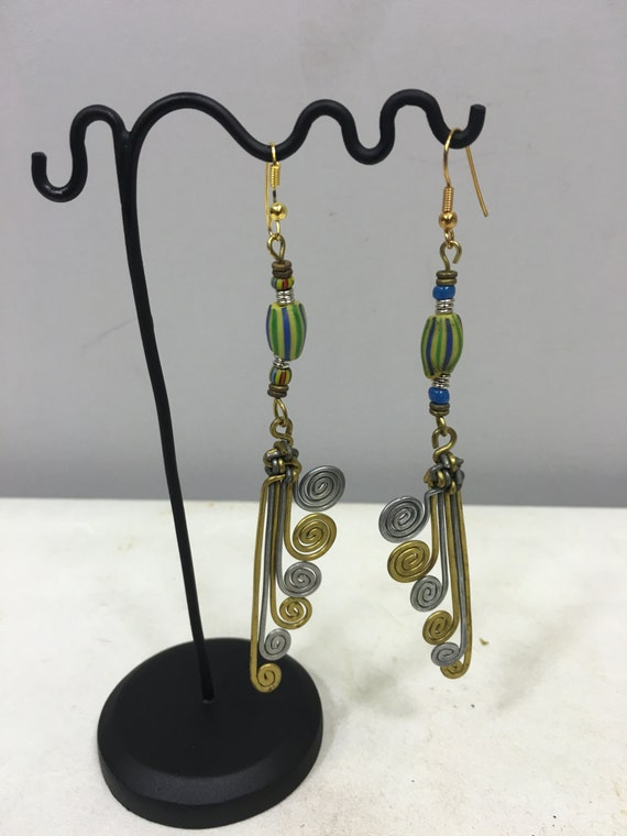 Earrings Brass Aluminum Coiled African Masai Earrings Yellow Blue Chevron Handmade Coiled Dangle Coiled Brass Women Earrings Tribal E44