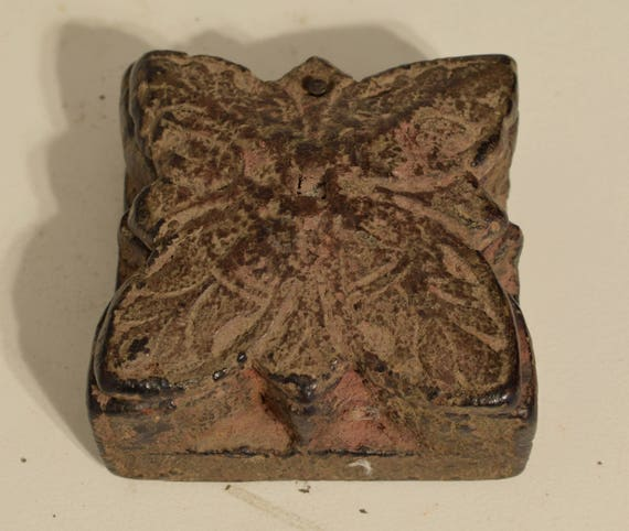 India Spice Box Rosewood Carved Wood Butterfly Spice Residue Antique Ornate India Spice Box