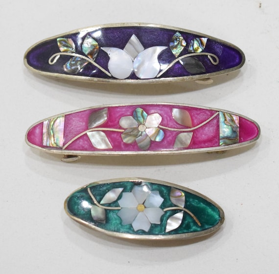Barrette Hair 3 Assorted Color Flower Inlaid Mother of Pearl Silver Hair Barrettes