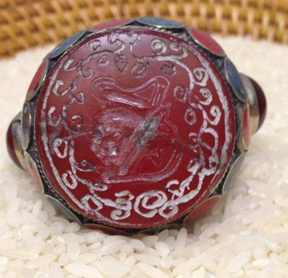 Ring Silver Carnelian Red Coral Turquoise Match-Makers Ring Afghanistan Tribal Handmade Ring Etched Carnelian Coral Statement Unique