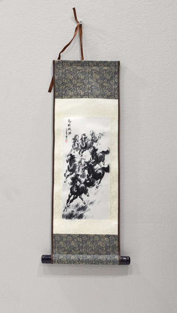 Scroll Chinese Brocade Painted Silk Wild Horses Wall Hanging 17.5""