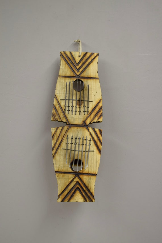 "Piano African Zulu South Africa Double Wood Gourd Thumb Piano Handmade Etched Gourd ""Kalimba"" Musical Piano Tines Thumbs Fun Tunes Unique"