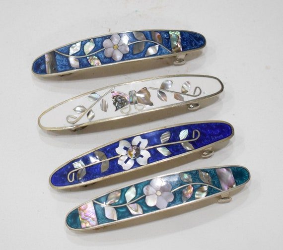 """Barrette Hair Assorted Color Flower Inlaid Mother of Pearl Silver Hair Barrettes 5"""""""