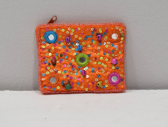 Coin Purse Beaded Orange Satin Sequined Flower Purse