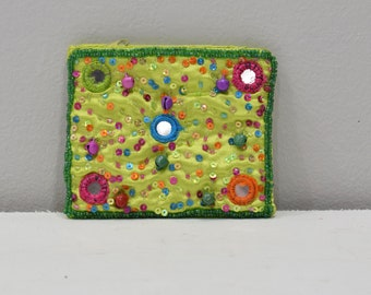 Coin Purse Beaded Lime Green Satin Sequined Flower Purse