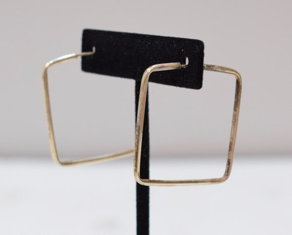 Earrings Sterling Silver Square Hoop Earrings 36mm