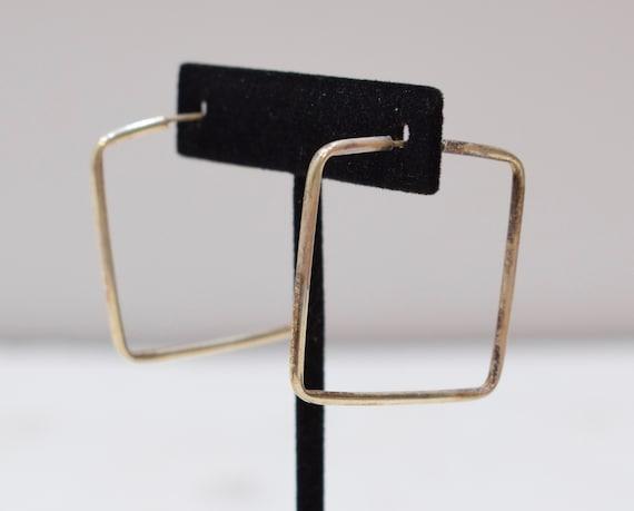 Earrings Sterling Silver Square Hoop Earrings 36-37mm