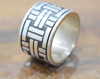 Ring Sterling Silver Etched Band Ring