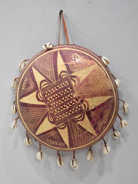 African Gourd Rattle Cowrie Shells Musical Burkina Faso