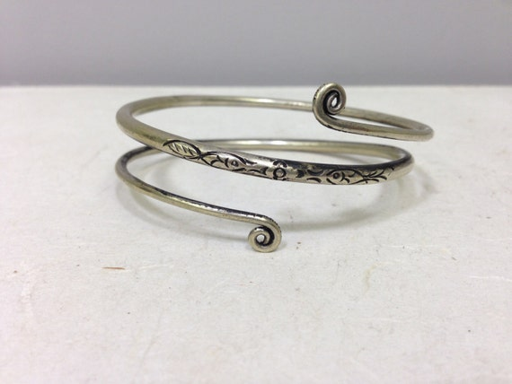 Bracelet Silver Small Arm Wrap Coiled Miao Hmong Silver Bracelet