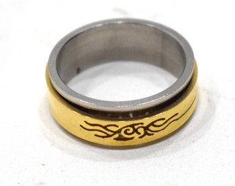 Ring Stainless Steel Brass Etched Spinner Band Ring