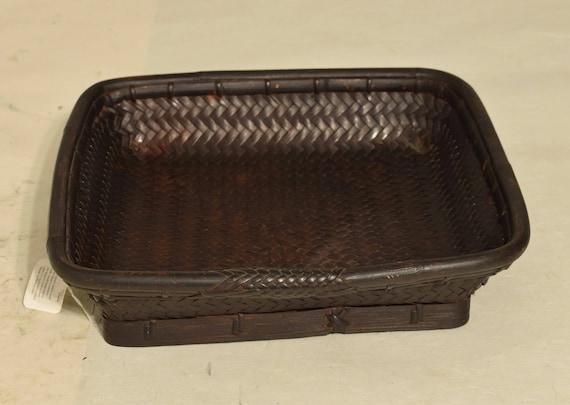 Philippines Basket Tagi Square Rattan Ifugao Handmade Woven Rattan Food Plate Serving Storage Rice Basket