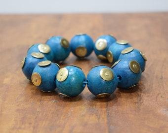 Bracelet Wood Dyed Blue Brass Stud Beaded Stretch Bracelet