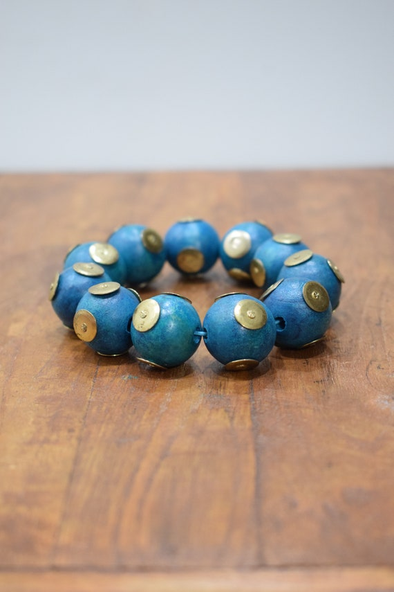 Bracelet Wood Dyed Blue Brass Stud Beaded Stretch Bracelet
