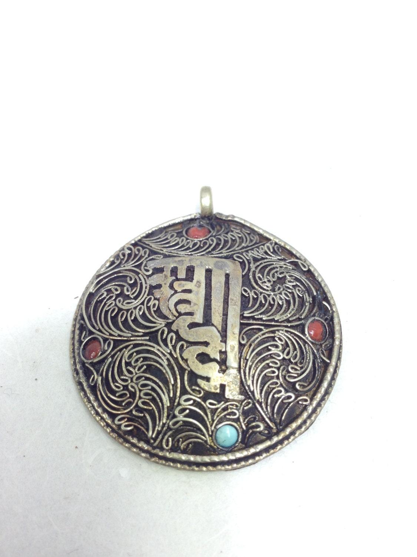 Pendant Tibetan Silver Om Mandala Pendant Handmade Buddhist Tibetan