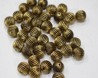 Beads Gold Grooved Round Beads 10mm
