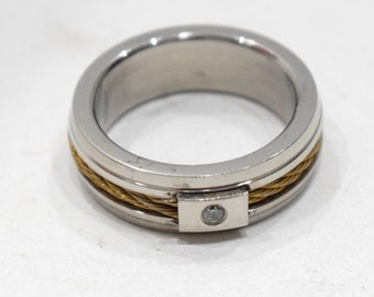 Ring Stainless Steel Brass Etched Rope Band Band Ring