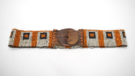 Belts Indonesian Beaded Stretch Assorted Colorful Patterned Belts