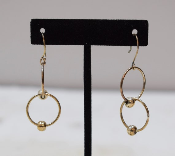 Earrings Sterling Silver Double Ring Dangle Earrings 50mm