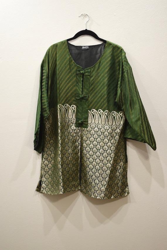 Jacket Silk Green Gold Brocade Jacket