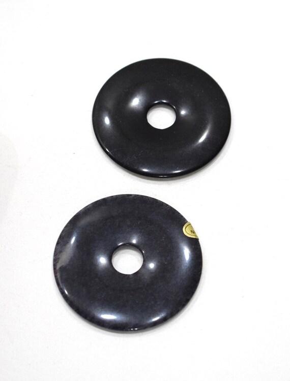 Beads Chinese Black Snowflake Jasper Ring Beads 50mm
