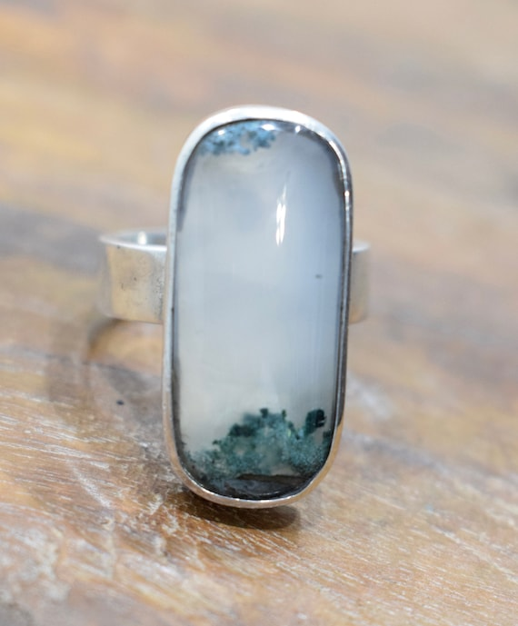 Ring Sterling Silver Rectangular Moss Agate Ring