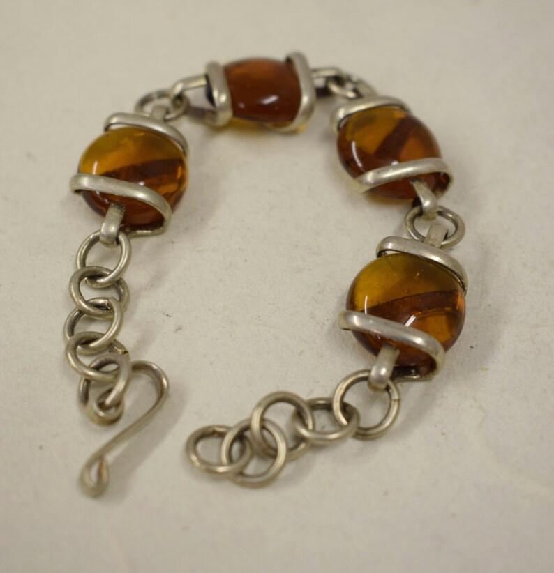Bracelet Silver Smoky Topaz  Glass Adjustable Handmade Glass Silver Jewelry Bracelet Fun Topaz Glass Unique