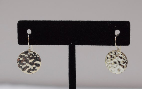 Earrings Sterling Silver Textured Round Dangle Earrings 14mm