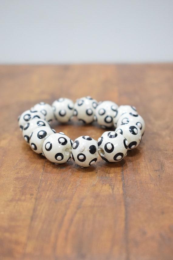 Bracelet Beaded Black White Wood Bead Elastic Bracelet