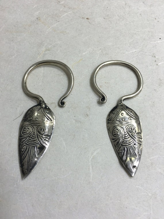 Chinese Earrings Silver Miao Hill Tribe Handmade Handcrafted Etched Dangle Tribal Earrings Gift for Her Jewelry Birthday Gift Idea