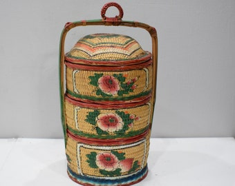 Basket Chinese 3 Tier Betrothal Hand Painted Basket