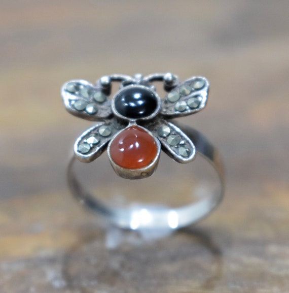 Ring Sterling Silver Butterfly Carnelian Onyx Ring