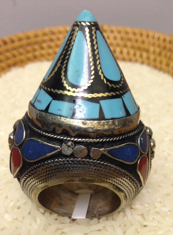 Ring Silver Turquoise Coral Lapis Inlay Kuchi Ring Handmade Turquoise Blue Lapis Red Coral Tribal Statement Unique