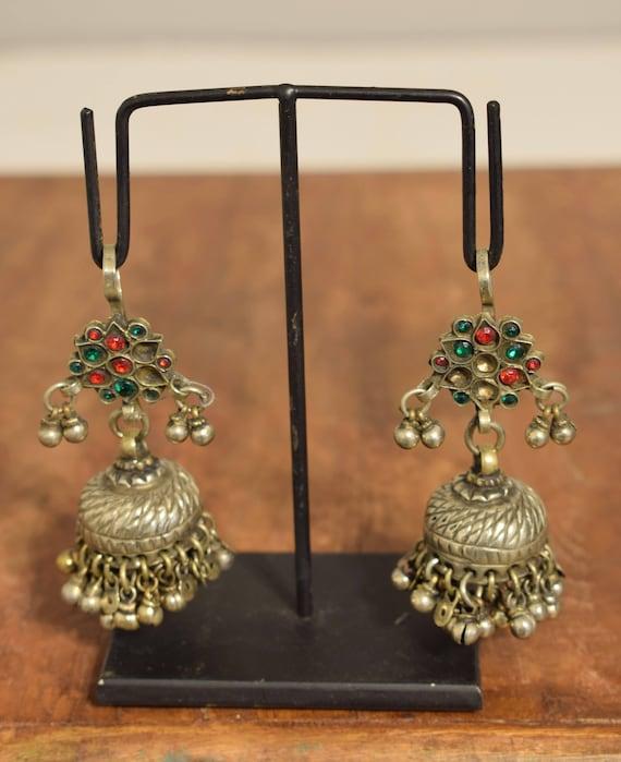 Earrings Silver Kuchi Glass Jewelry Belly Dancing Middle Eastern Kuchi Earrings