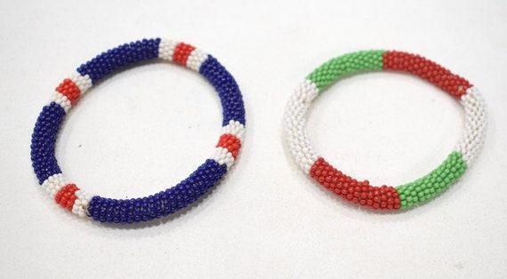 "African 2 Masai Beaded Multi Colored Bangle Bracelets Kenya 3.5"""