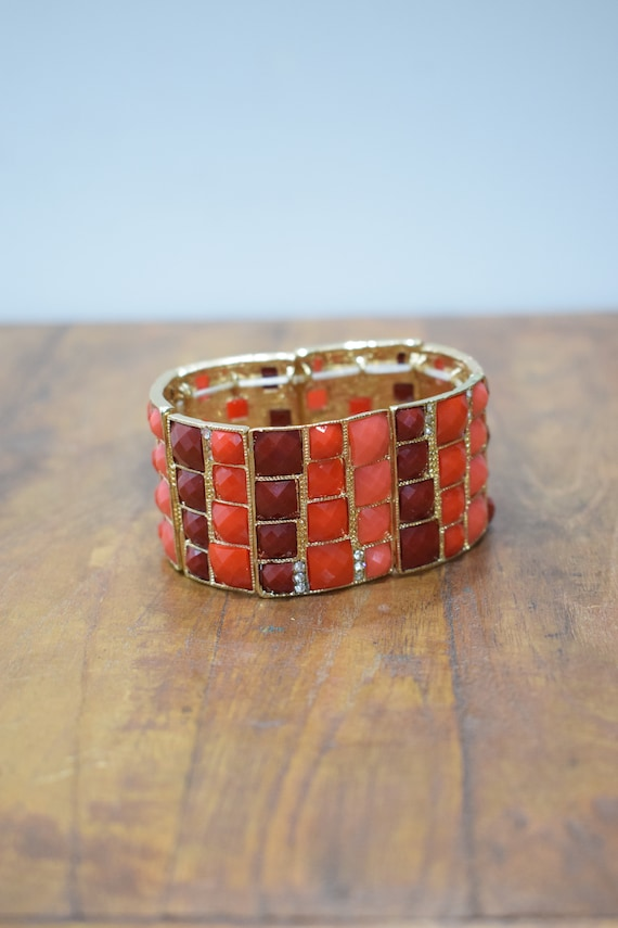 Bracelet Orange Red Faceted Gold Stretch Bracelet