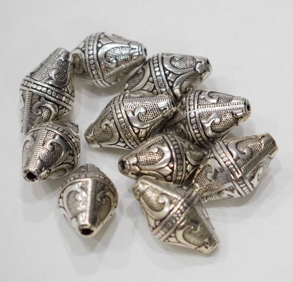 Beads Silver Ornate Bicone Beads 20mm