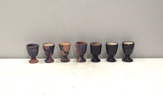 African Carved Soapstone Cups Kenya