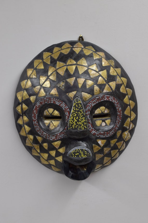 African Mask Baluba Wood Brass Red Yellow Blue Beaded Luba Handmade Mask Ceremonial Spiritual Mask