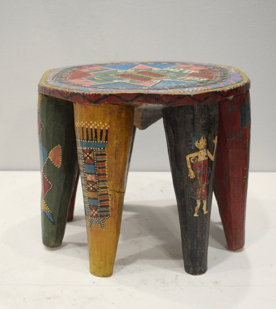African Stool Nupe Painted Wood Carved Nigeria Stool Tribal Nupe Stool