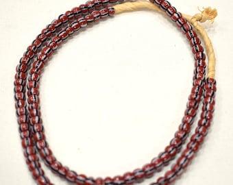 Beads African Rust Black Chevron Glass 6-8mm