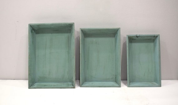 Tray  Indonesian Turquoise Wood Serving Tray